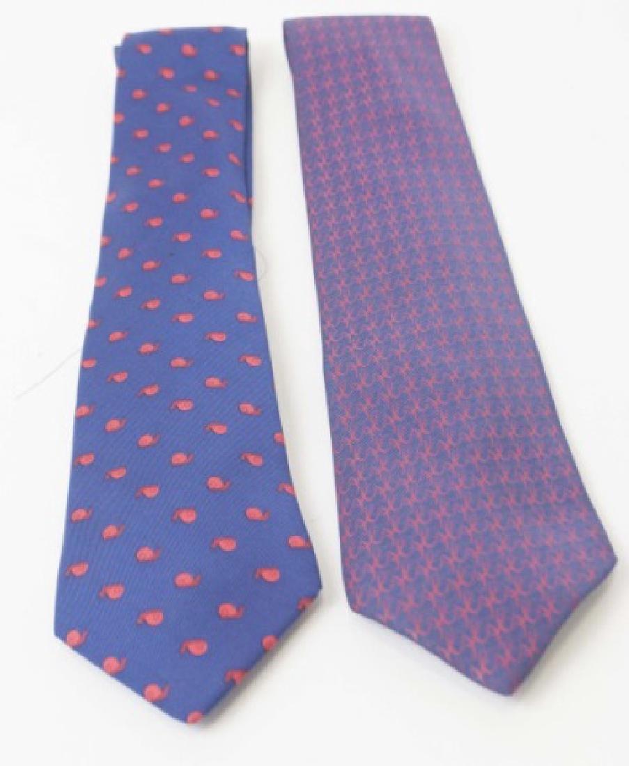 Pair Hermes Paris Ties -Snails & Red/Navy Pattern