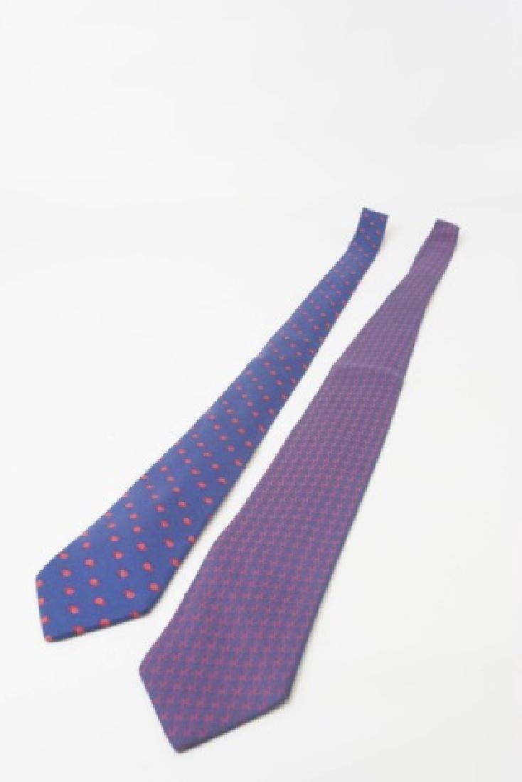 Pair Hermes Paris Ties -Snails & Red/Navy Pattern - 2