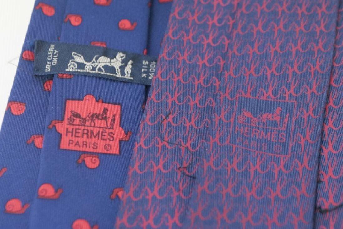 Pair Hermes Paris Ties -Snails & Red/Navy Pattern - 3