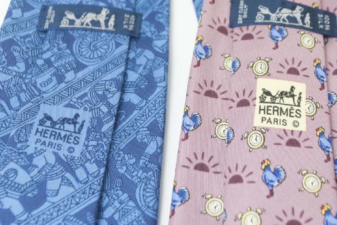 Pair Hermes Paris Ties - Blue Warriors & Roosters - 3