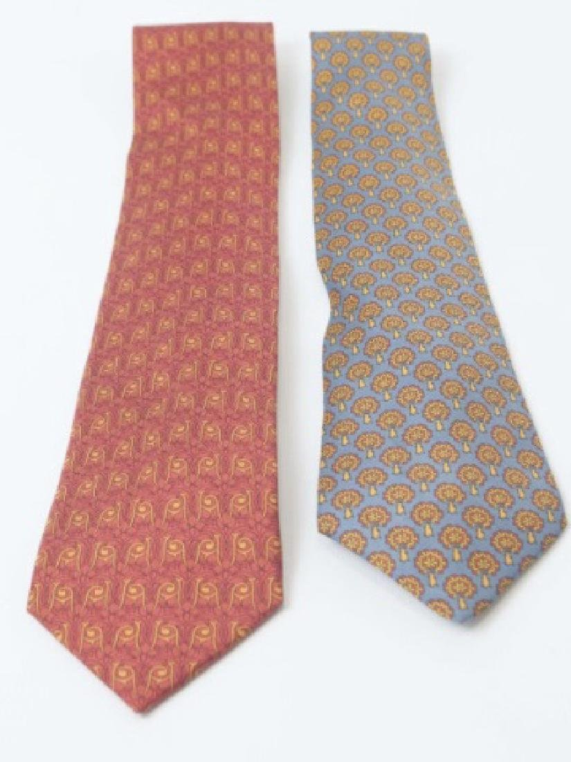 Pair Hermes Paris Ties - Blue/Gold & Red Pattern