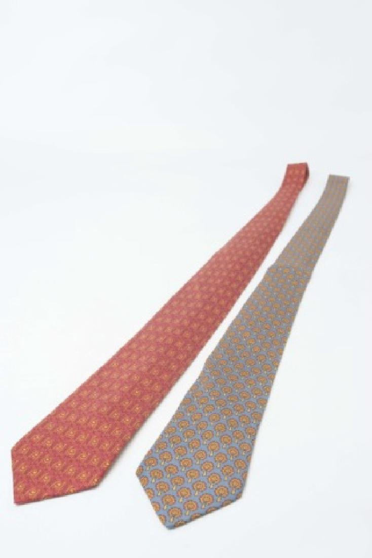 Pair Hermes Paris Ties - Blue/Gold & Red Pattern - 2
