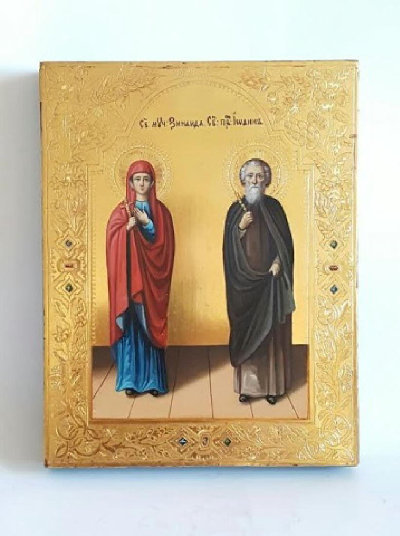 Russian Orthodox Hand Painted Icon of Two Saints