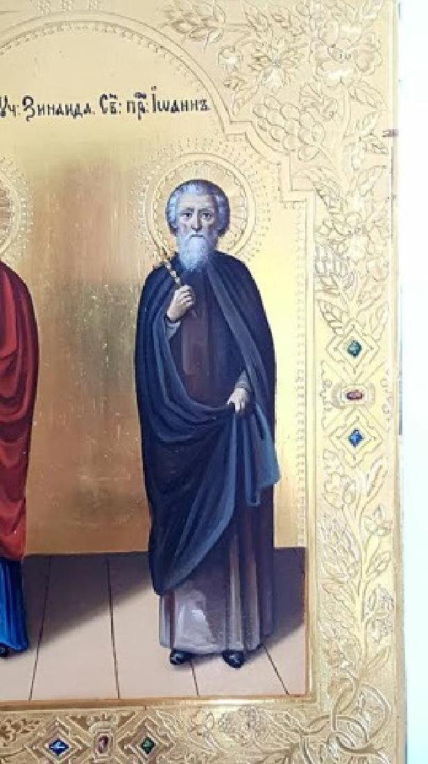 Russian Orthodox Hand Painted Icon of Two Saints - 2