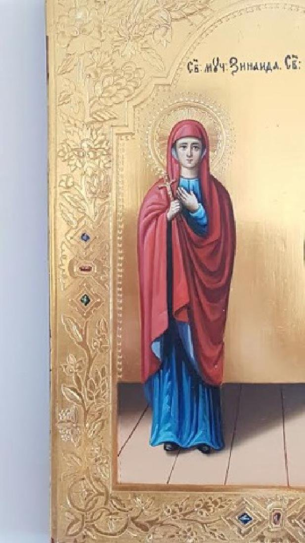 Russian Orthodox Hand Painted Icon of Two Saints - 4