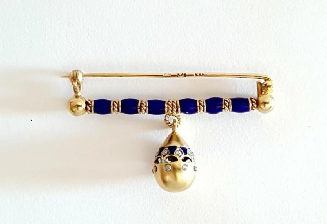 Antique Russian Gold Enamel & Diamond Egg Pin