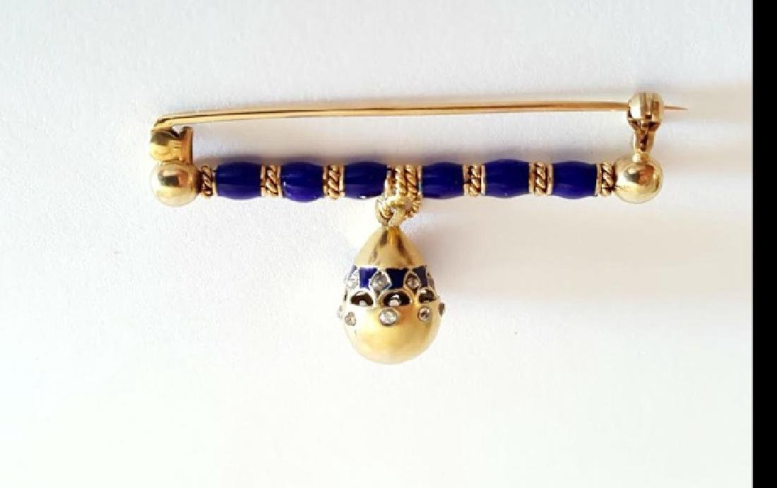 Antique Russian Gold Enamel & Diamond Egg Pin - 4