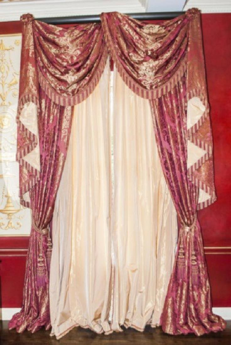 Pair Custom Made Damask & Silk Curtains