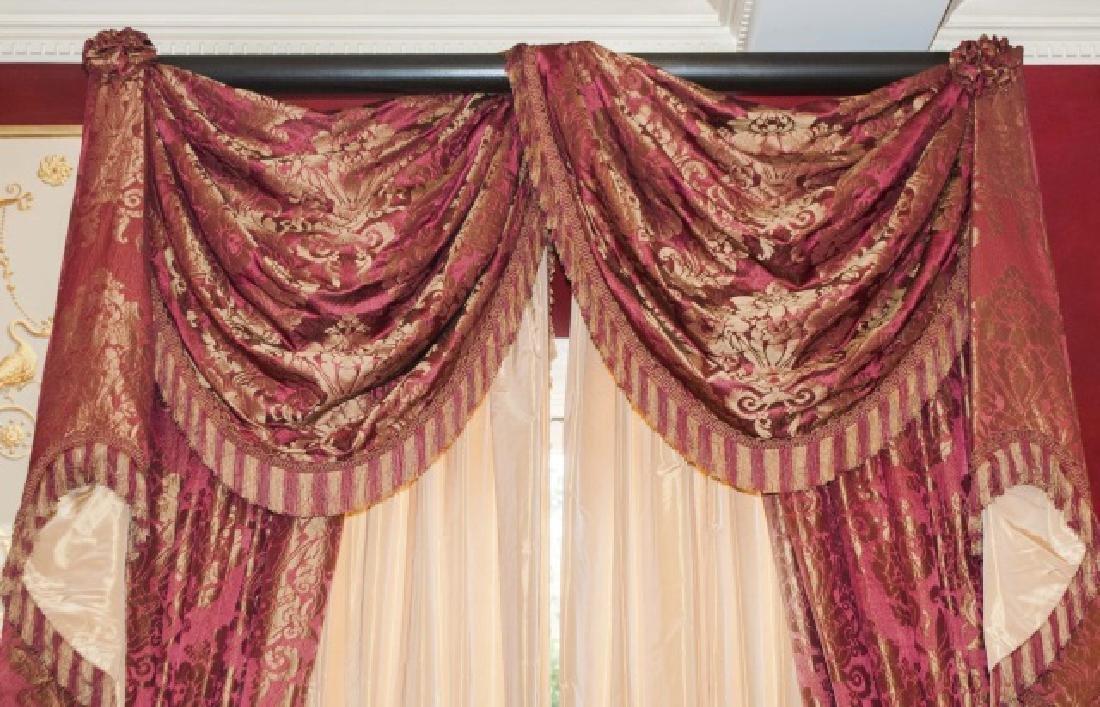 Pair Custom Made Damask & Silk Curtains - 2