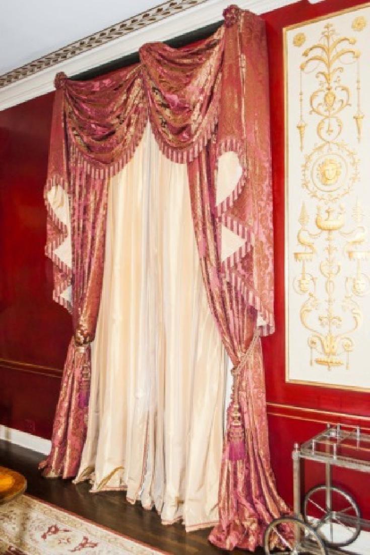 Pair Custom Made Damask & Silk Curtains - 3