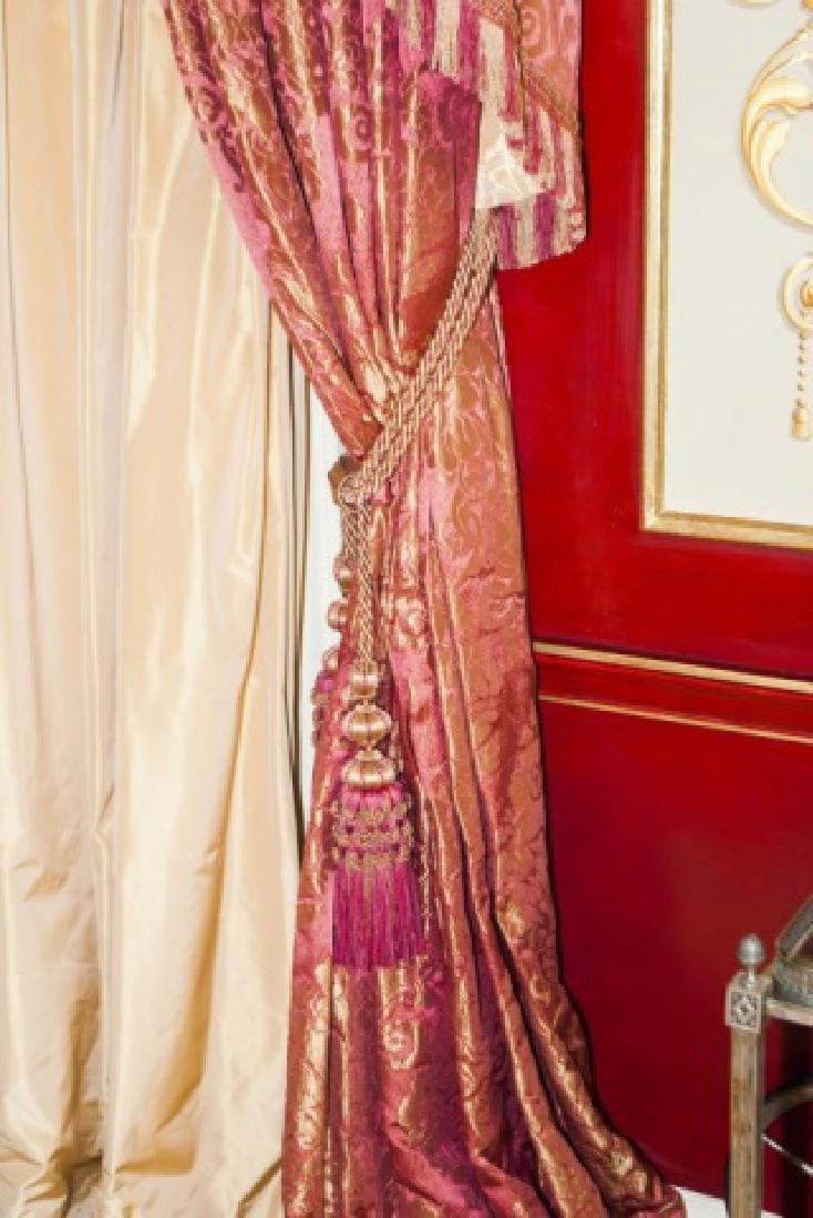 Pair Custom Made Damask & Silk Curtains - 4