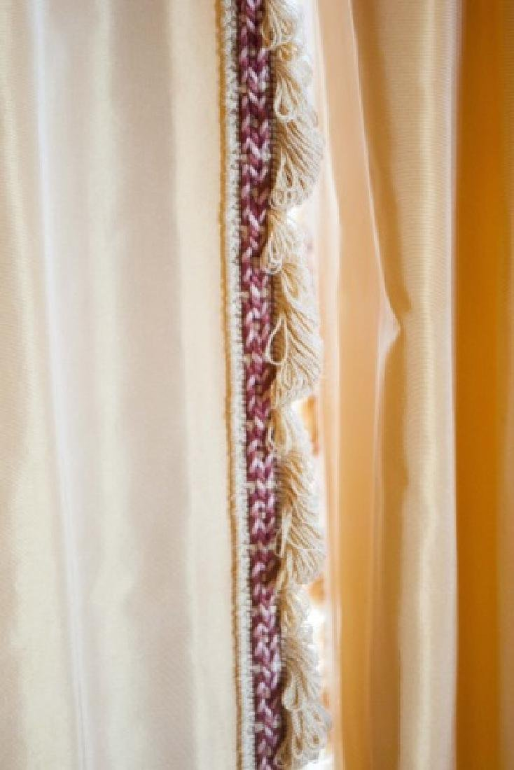 Pair Custom Made Damask & Silk Curtains - 5
