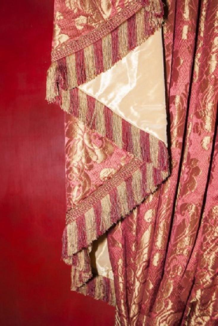 Pair Custom Made Damask & Silk Curtains - 6