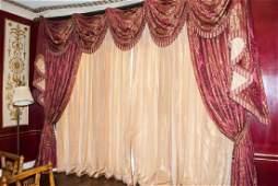 Large Custom Made Damask & Silk Curtain Set