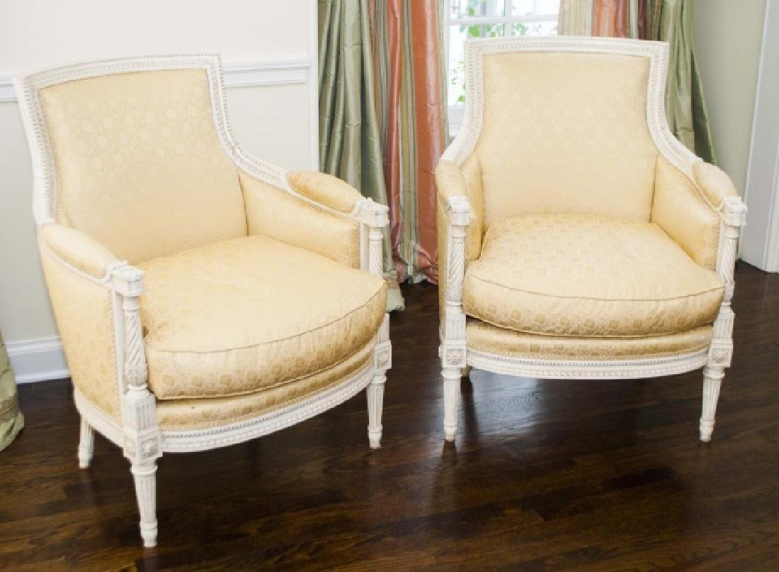 Pair of Custom Made & Upholstered French Armchairs