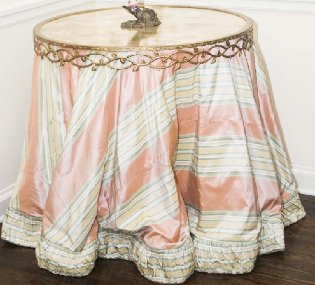 Custom Made Silk Round End Table w Ormolu Border
