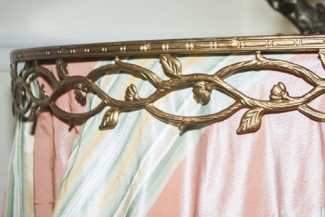 Custom Made Silk Round End Table w Ormolu Border - 3