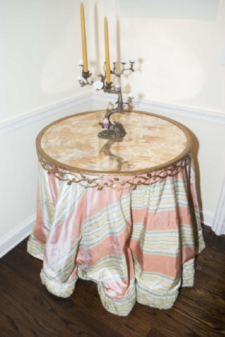 Custom Made Silk Round End Table w Ormolu Border - 4