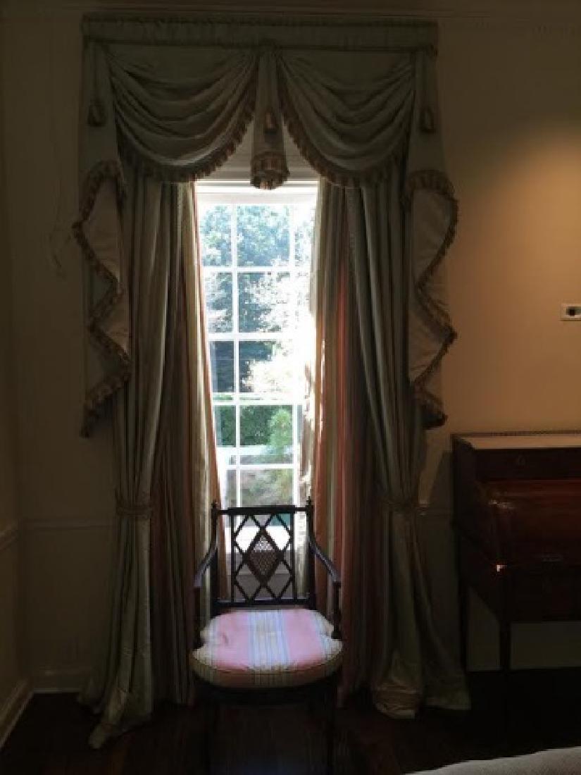 Pair Quality Custom Made Silk Curtains w Fringe