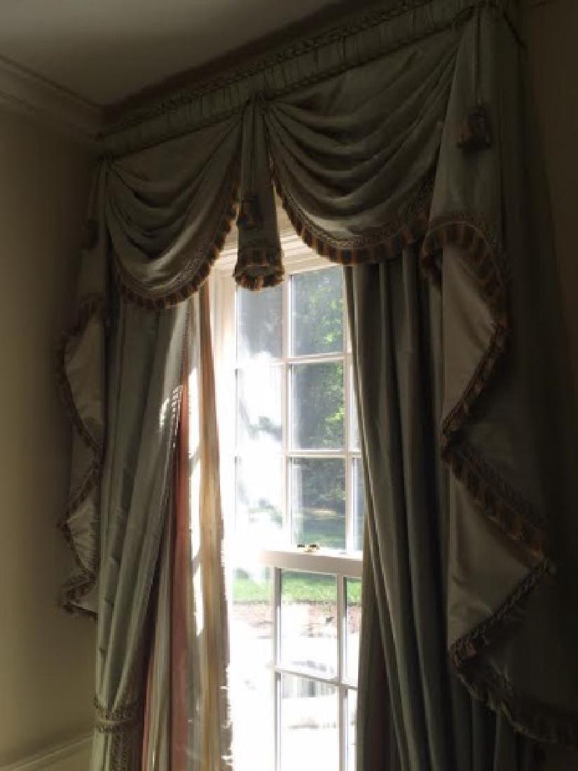 Pair Quality Custom Made Silk Curtains w Fringe - 2