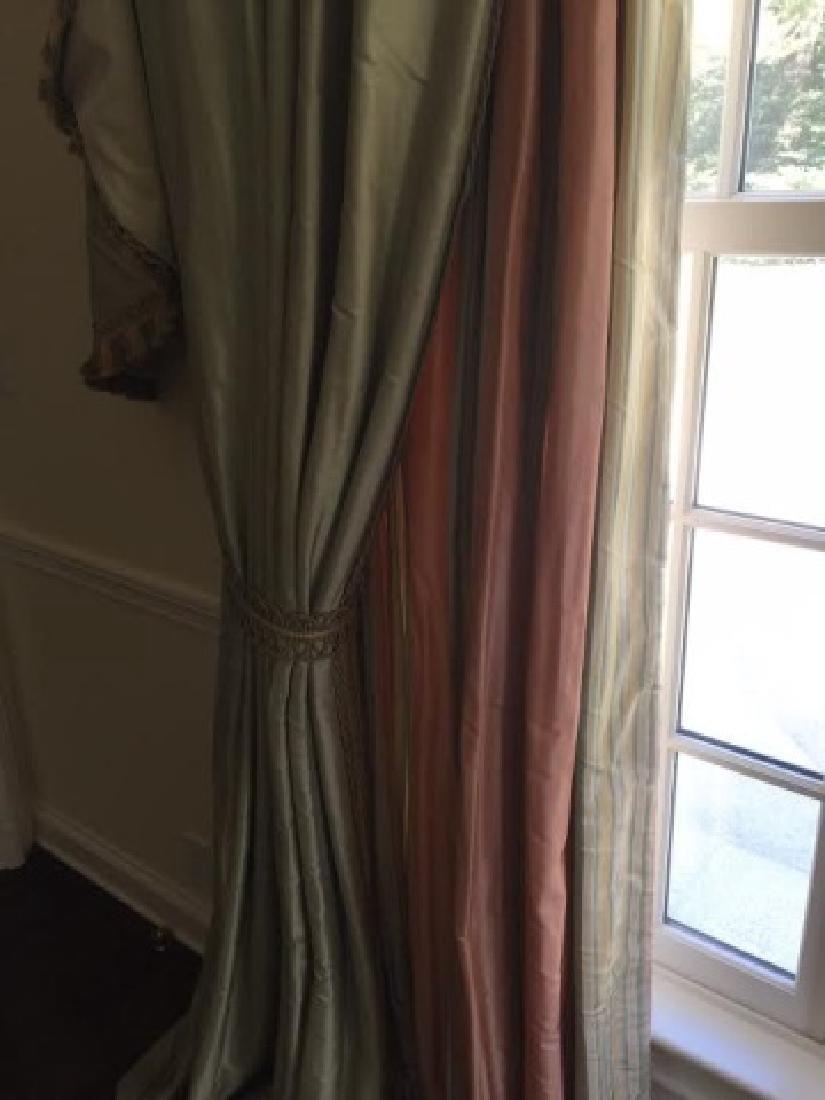 Pair Quality Custom Made Silk Curtains w Fringe - 3