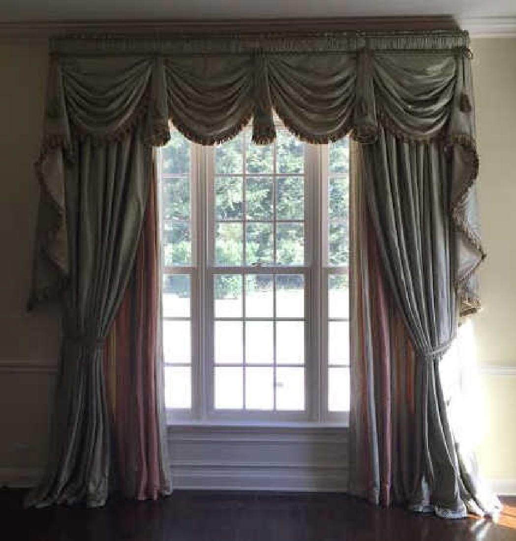 Large Quality Custom Made Silk Curtains w Fringe - 2