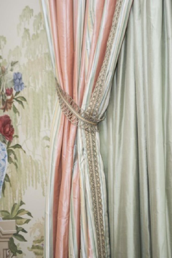 Pair of Quality Custom Made Silk Drapes & Panels - 2