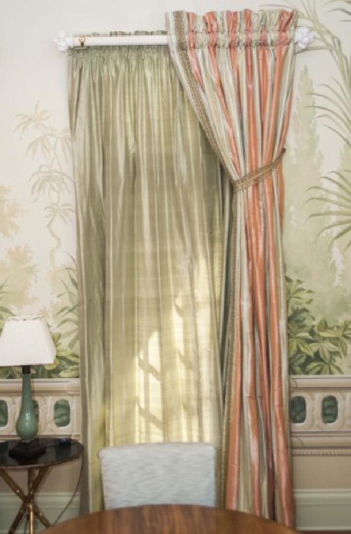 Pair of Quality Custom Made Silk Drapes & Panels - 3