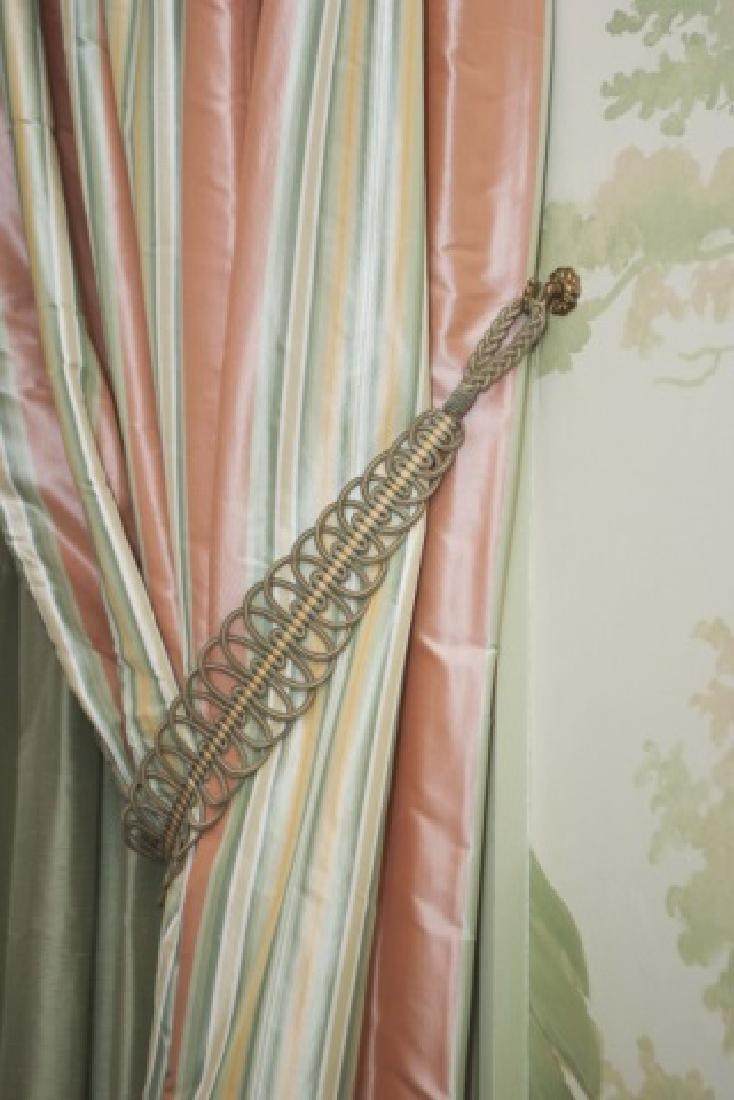 Pair of Quality Custom Made Silk Drapes & Panels - 4