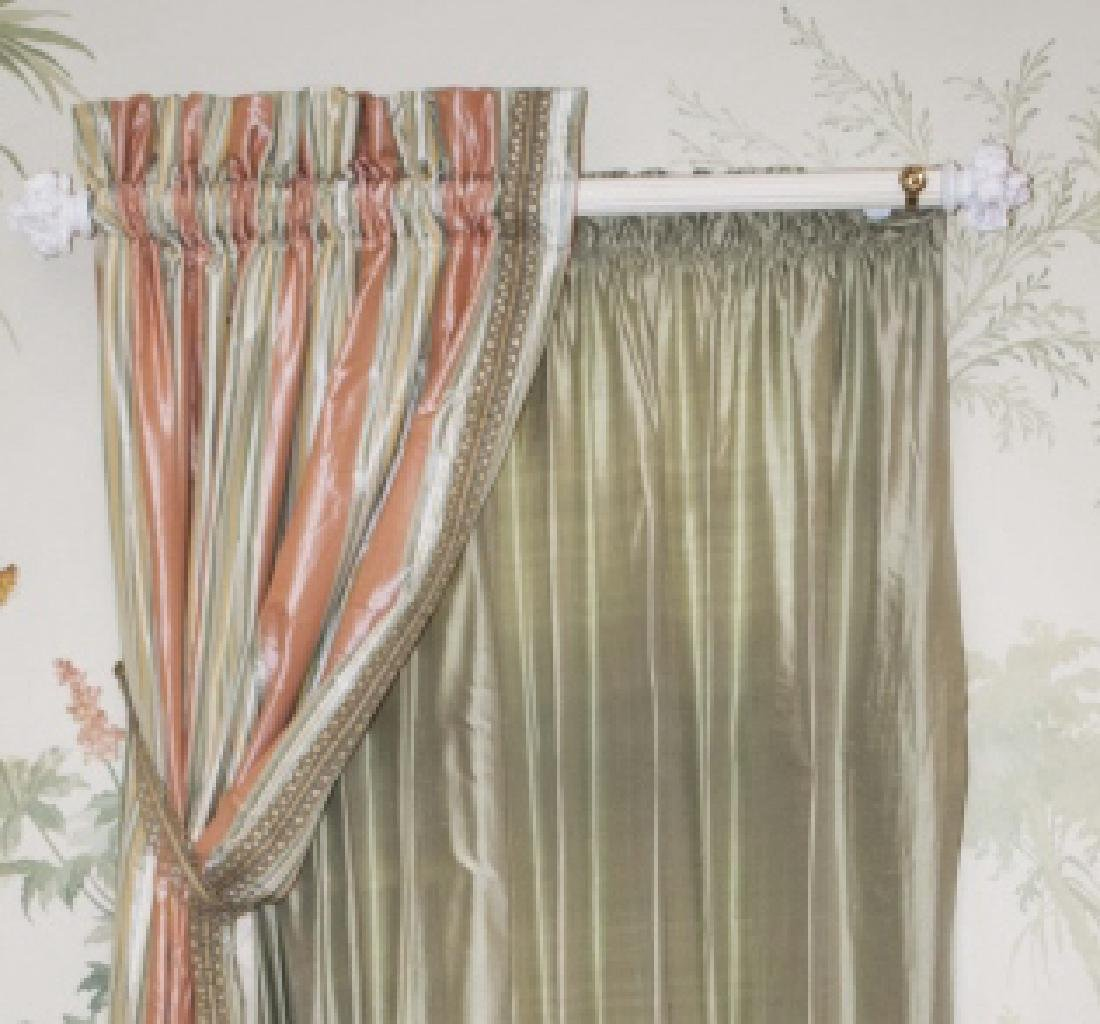 Pair of Quality Custom Made Silk Drapes & Panels - 2