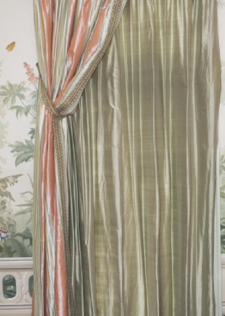 Pair of Quality Custom Made Silk Drapes & Panels - 3