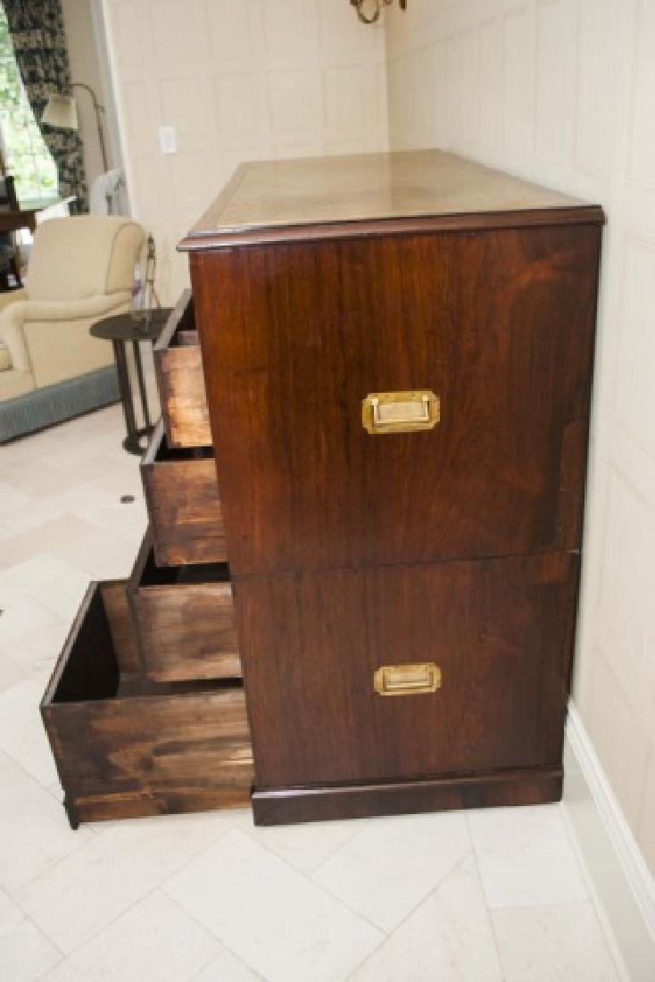 Large Antique 19th C English Campaign Chest - 2