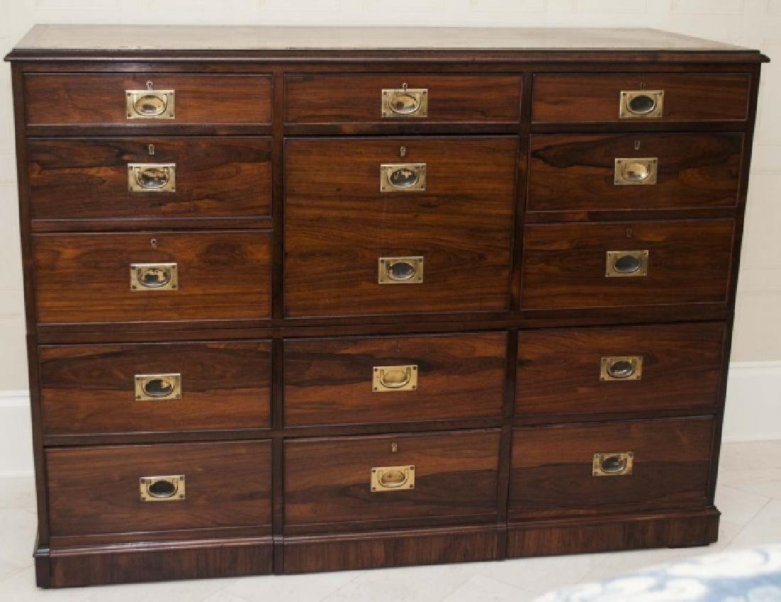 Large Antique 19th C English Campaign Chest - 3