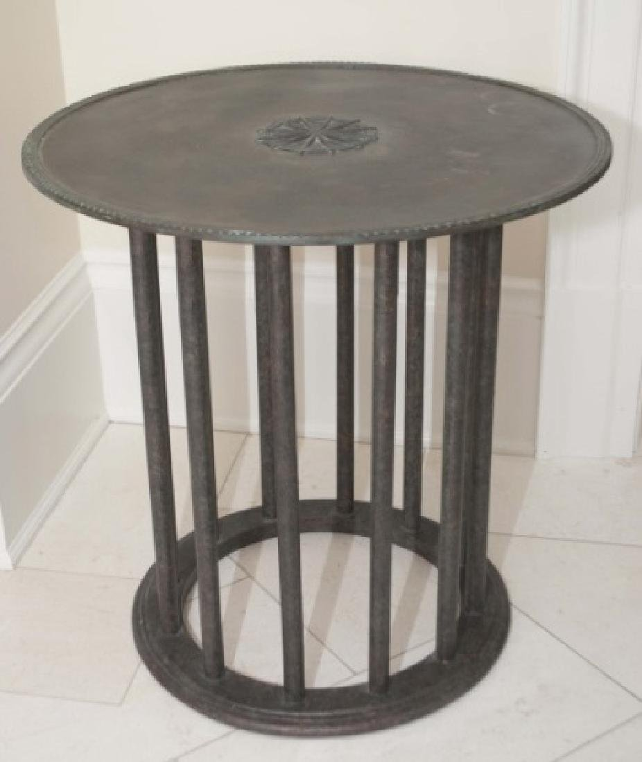Holly Hunt Bronze & Wood Contemporary End Table
