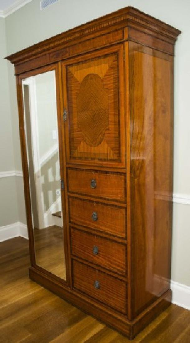 Antique French Inlaid & Burl Wood Armoire w Mirror