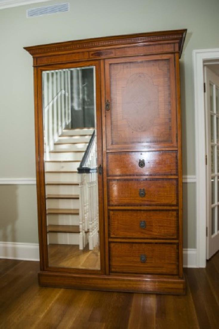 Antique French Inlaid & Burl Wood Armoire w Mirror - 3