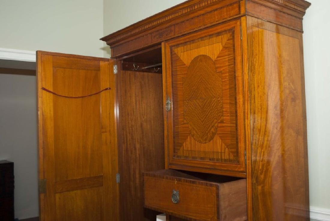 Antique French Inlaid & Burl Wood Armoire w Mirror - 4