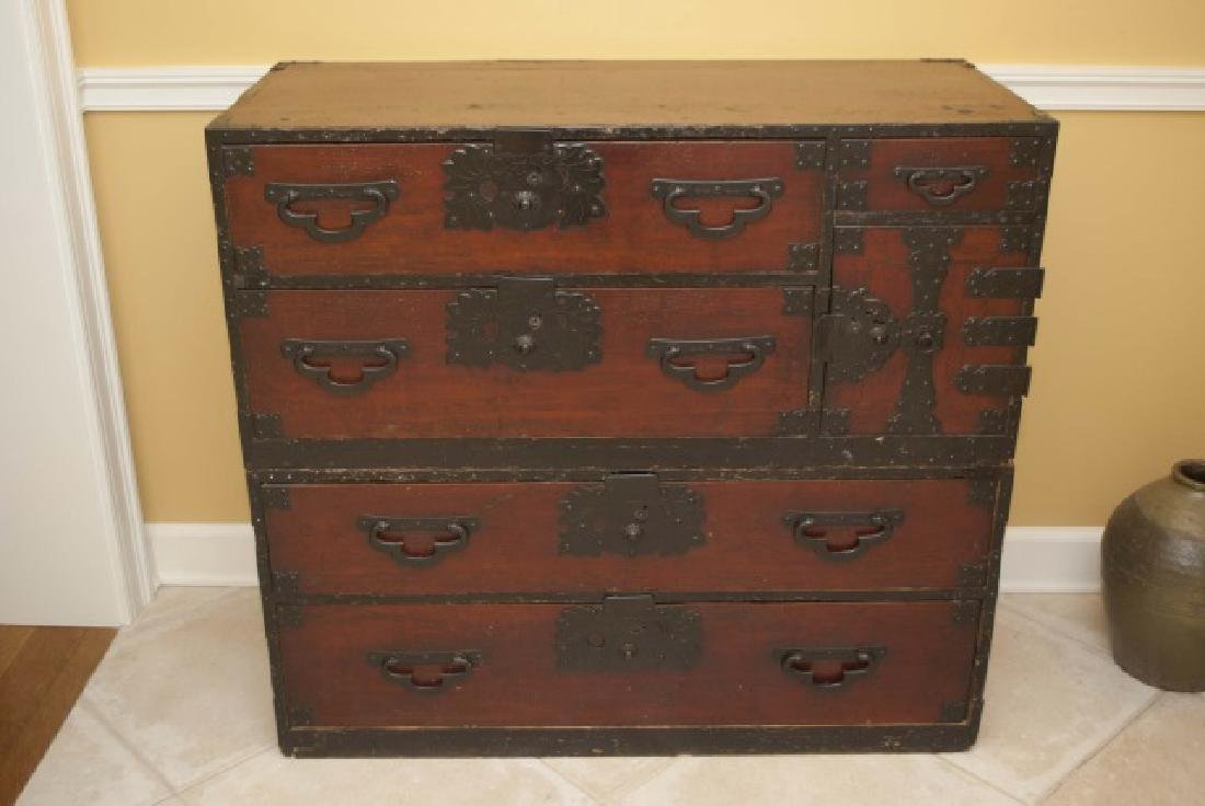 Antique Japanese Handmade Wood Chest of Drawers