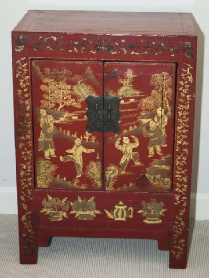 Chinese Hand Painted Antique Wood Console Cabinet
