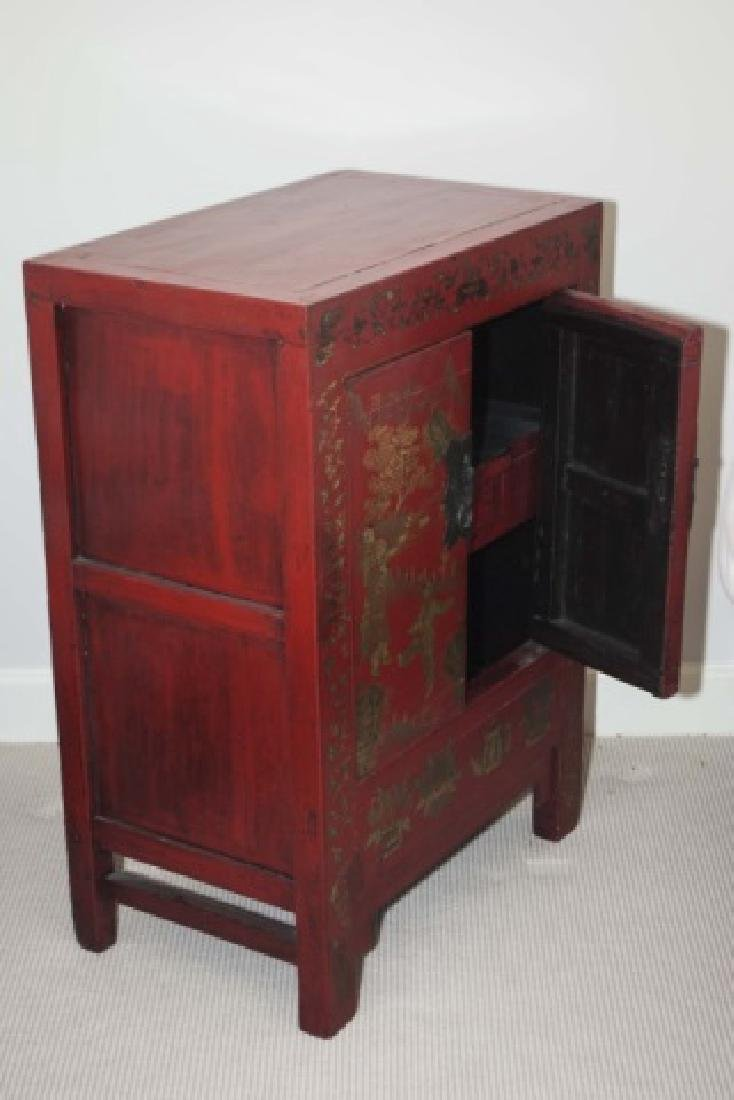 Chinese Hand Painted Antique Wood Console Cabinet - 2