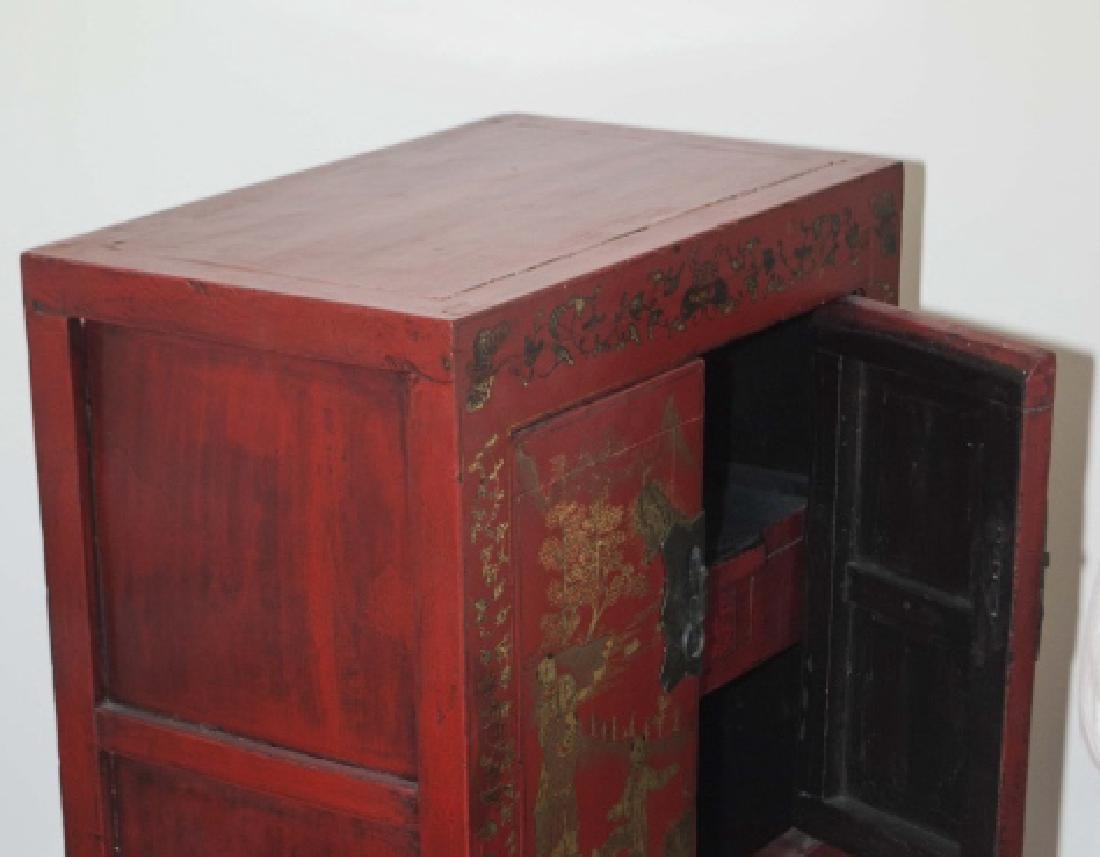 Chinese Hand Painted Antique Wood Console Cabinet - 3