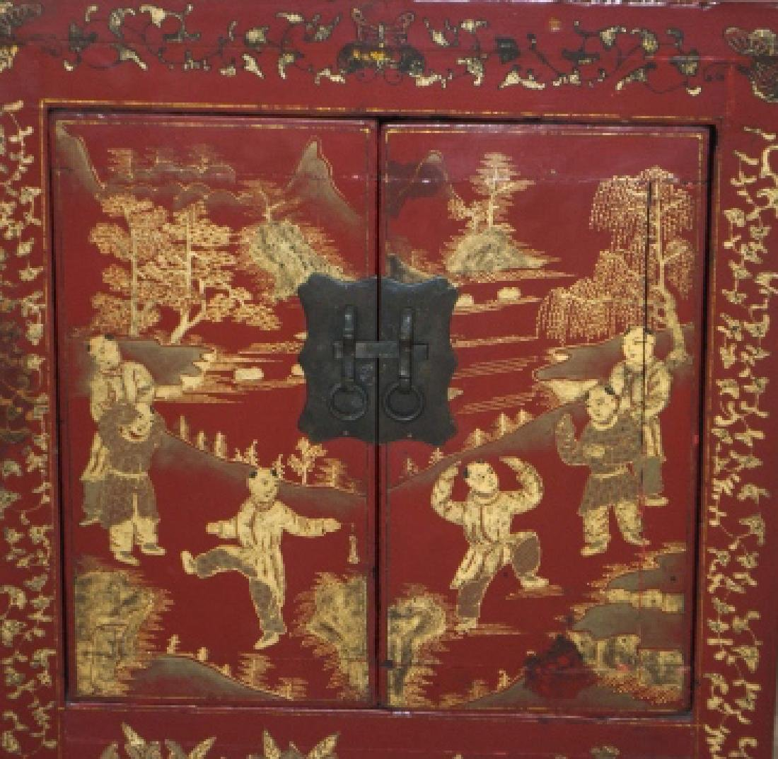 Chinese Hand Painted Antique Wood Console Cabinet - 4
