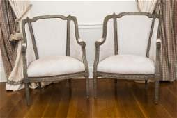 Pair Antique French Hand Carved Wood Armchairs