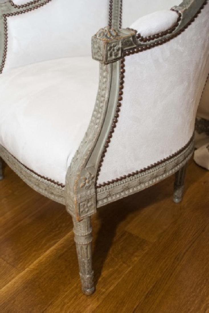 Pair Antique French Hand Carved Wood Armchairs - 2