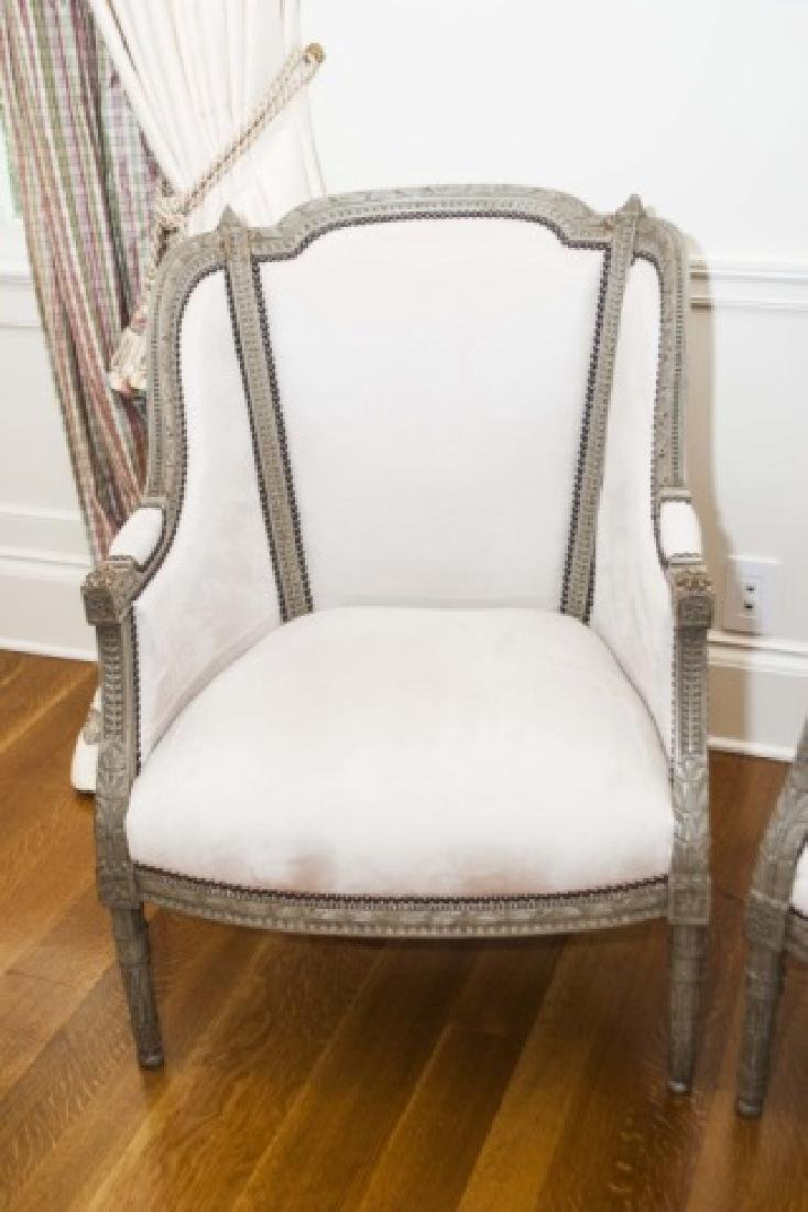 Pair Antique French Hand Carved Wood Armchairs - 3