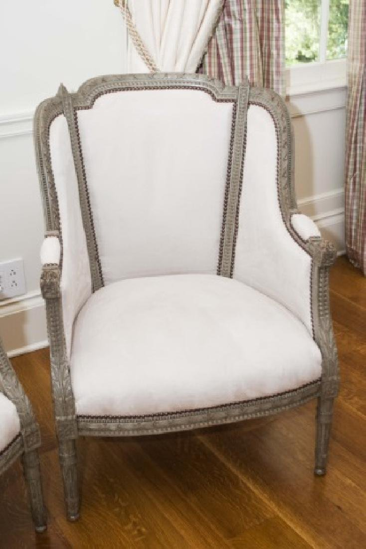 Pair Antique French Hand Carved Wood Armchairs - 4