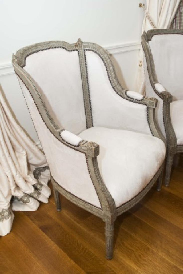 Pair Antique French Hand Carved Wood Armchairs - 5
