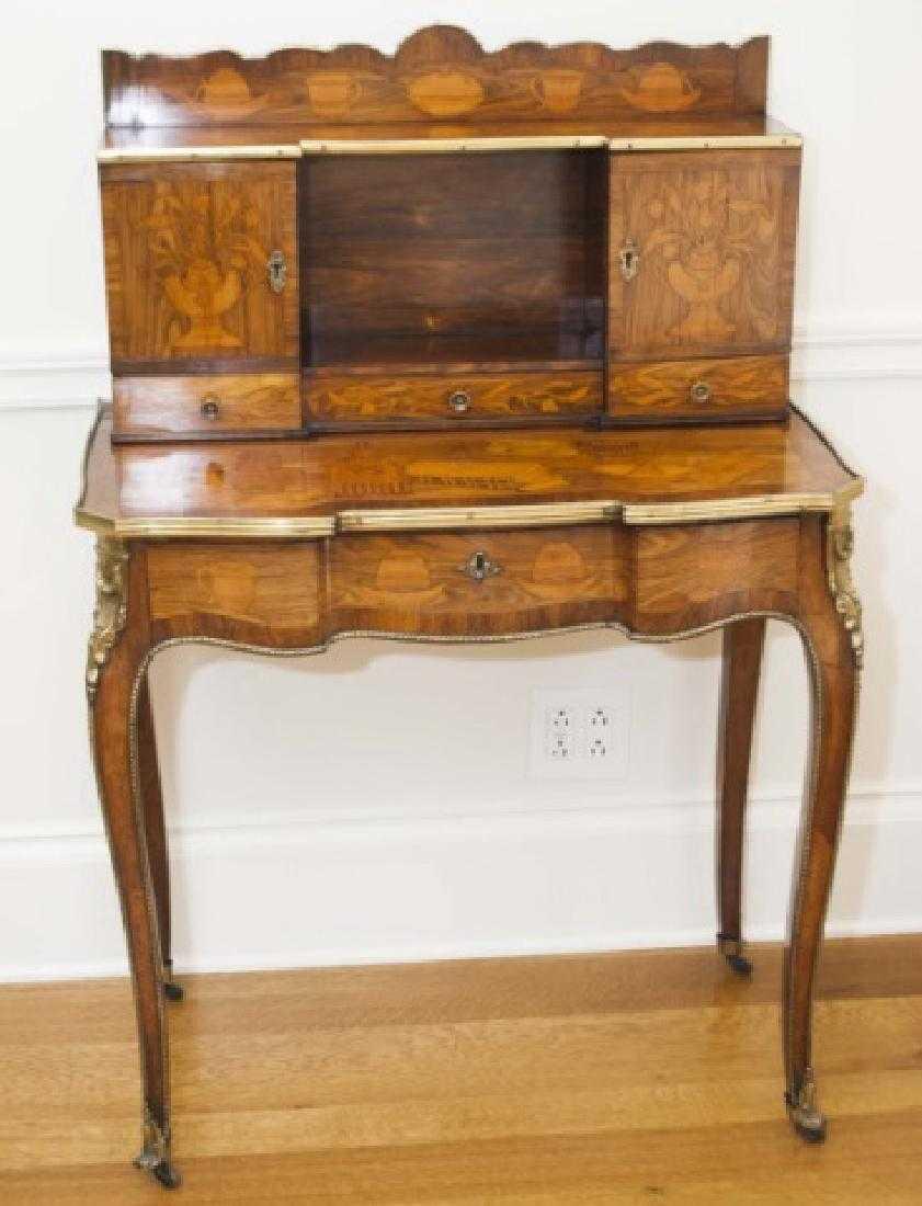 - Antique French Inlaid Bonheur Du Jour Ladies Desk