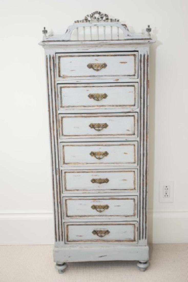 Antique French Custom Painted Seven Drawer Chest
