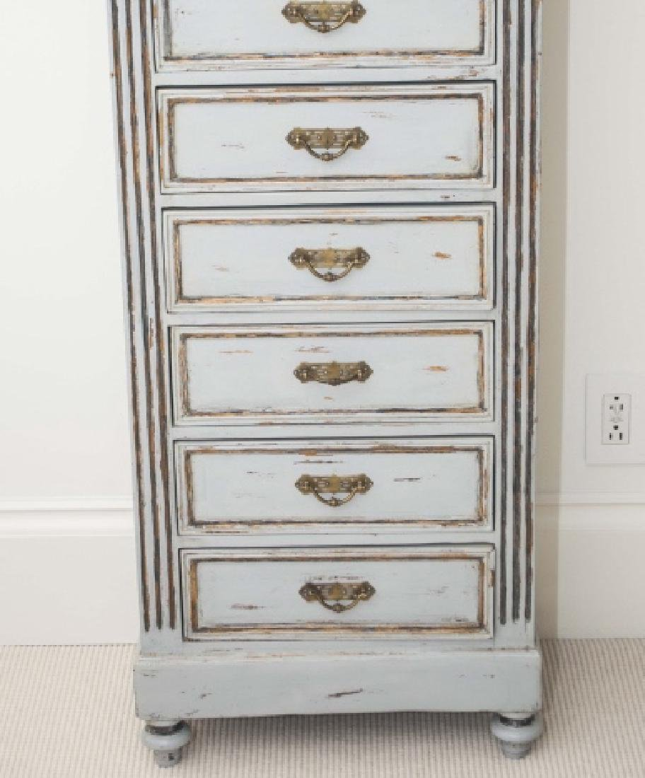 Antique French Custom Painted Seven Drawer Chest - 3